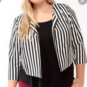 Black and white striped cropped blazer
